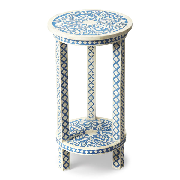 Amanda Blue Bone Inlay Accent Table