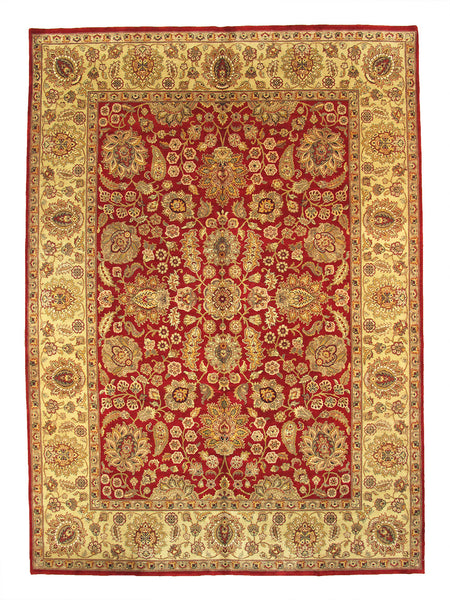 Hand-Knotted Agra Red/Gold Lamb's Wool Rug