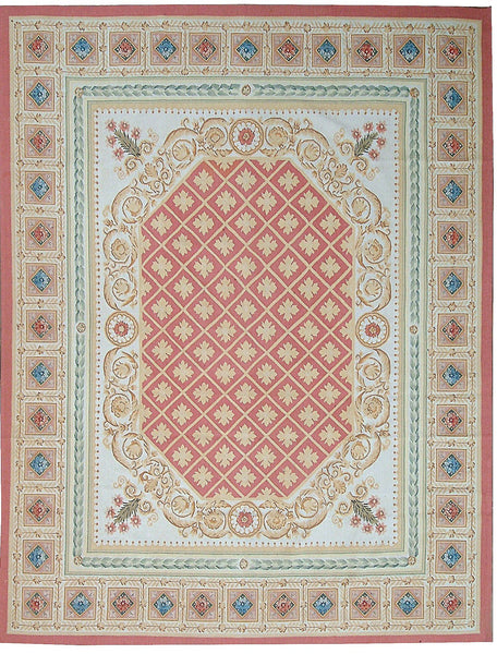 Hand Woven Aubusson New Zealand Wool Area Rug Ornamic
