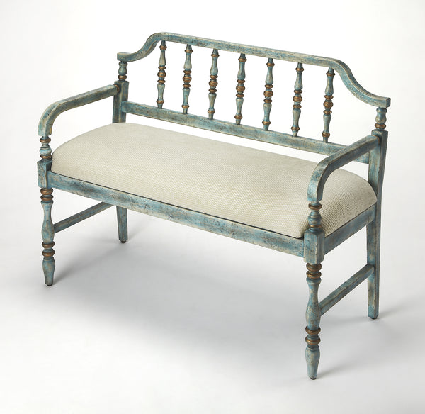 Emilia Weathered Blue Bench
