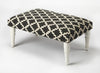Lucinda Black & White Upholstered Cocktail Ottoman