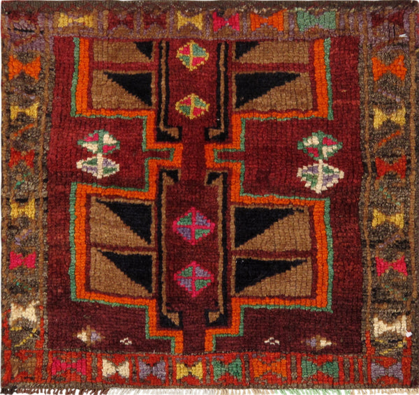 Hand-Knotted Vintage Lori Orange/Red Rug