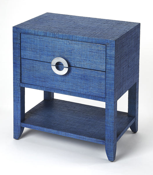 Amelle Blue Raffia End Table