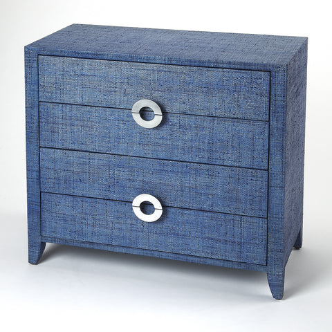 Amelle Blue Raffia Accent Chest