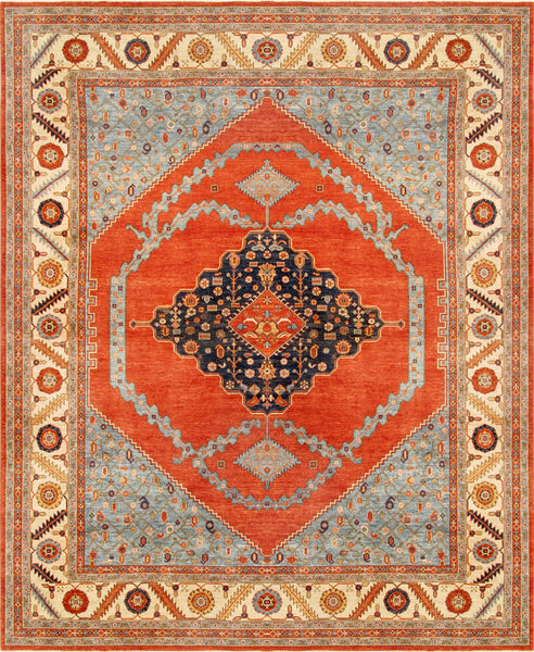 Hand-Knotted Serapi Lamb's Wool Area Rug