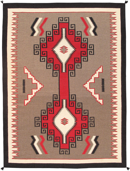 Hand-Knotted Navajo Red Lamb's Wool Area Rug