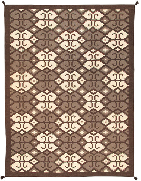Hand-Knotted Navajo Grey/Beige Wool Area Rug