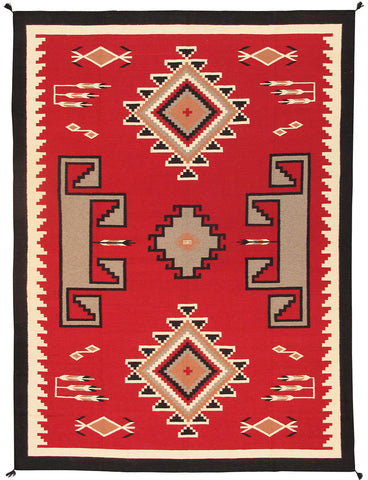 Hand-Knotted Navajo Red/Black Wool Area Rug