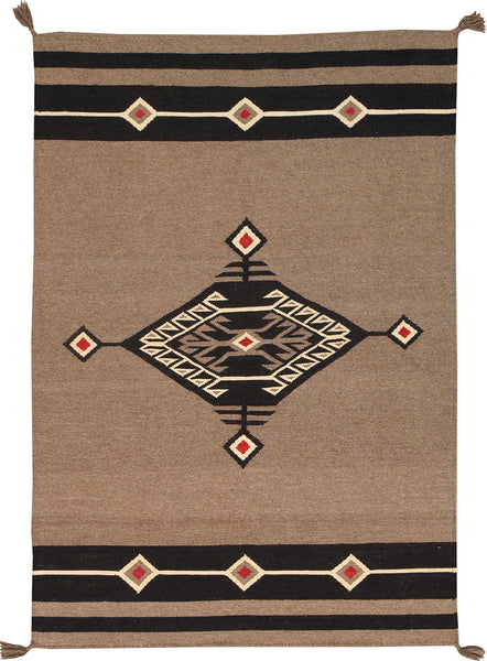 Hand-Knotted Navajo Design Grey Area Rug