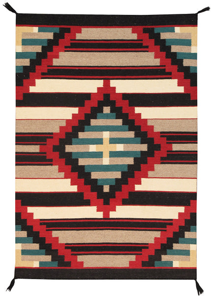 Hand-Knotted Navajo Design Green/Black Area Rug