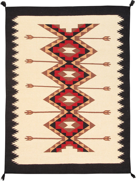 Hand-Knotted Navajo Fine Lamb's Wool Ivory Rug
