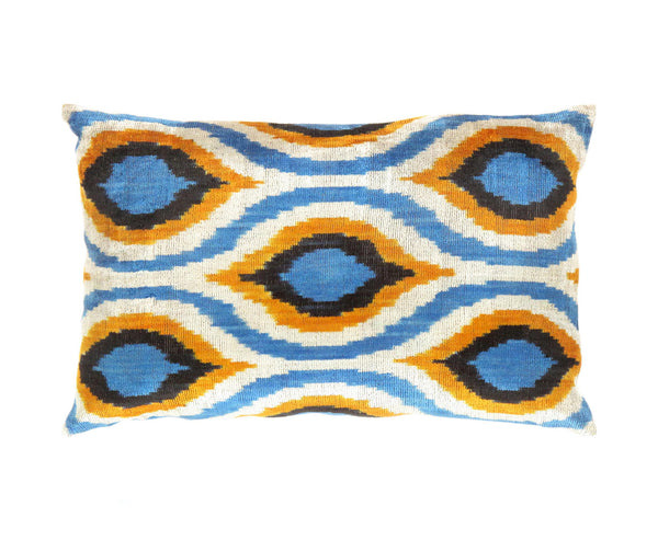Silk Velvet Hand-Knotted Blue/Orange Ikat Pillow