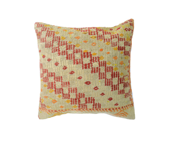 Hand-Woven Turkish Vintage Wool Kilim Pillow