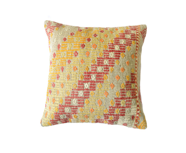 Hand-Woven Turkish Vintage Gold/Red Pillow