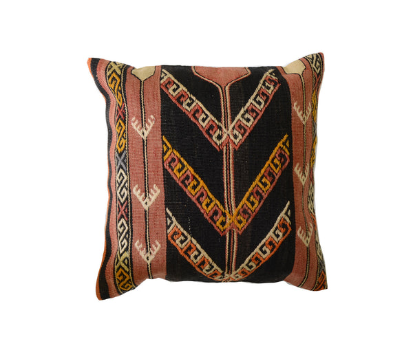Hand-Woven Vintage Turkish Black Pillow