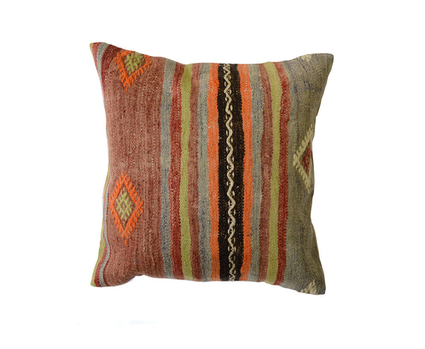 Hand-Woven Turkish Vintage Brown/Grey Pillow