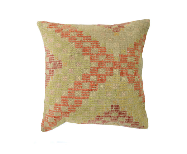 Hand-Woven Turkish Vintage Beige/Orange Pillow