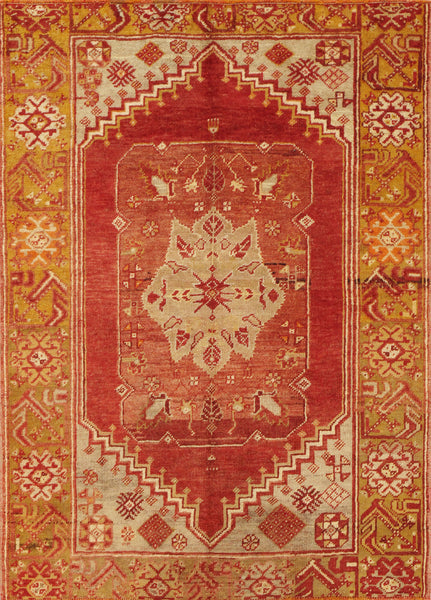 Hand-Knotted Anatolian Rust/Gold Wool Area Rug