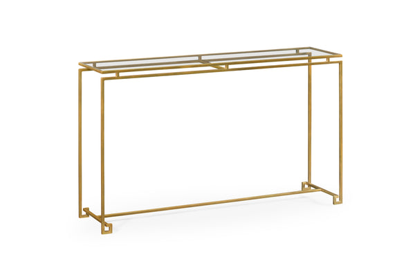 Gilded Iron Large Console Table With A Clear Glass Top