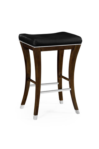 American Walnut Counter Stool, Upholstered In Black Leather