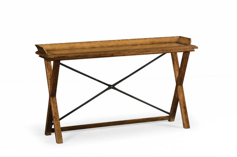 Narrow Rectangular Light Brown Chestnut Console Table