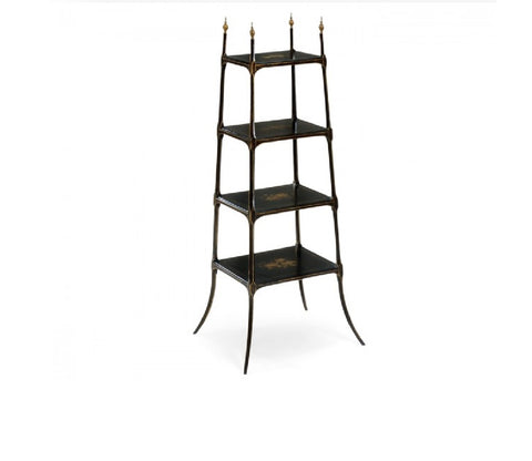 Regency Style Black Four-Tier Etagere