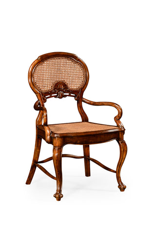 French Style Salon Chair With Caned Back