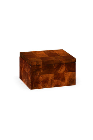 Rectangular Patchwork Mahogany Drink Coasters Box