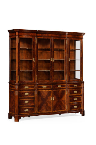 Serpentine Architrave Mahogany China Cabinet