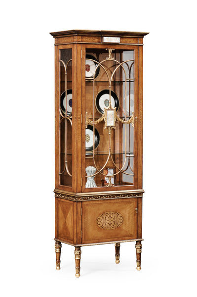 Narrow Satinwood Display Cabinet
