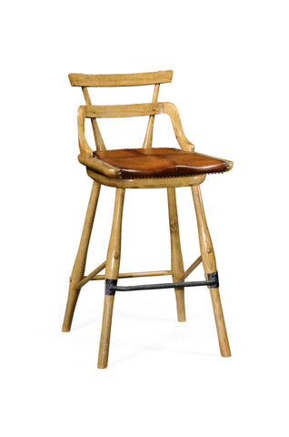 Natural Oak Barstool With Studded Leather Seat