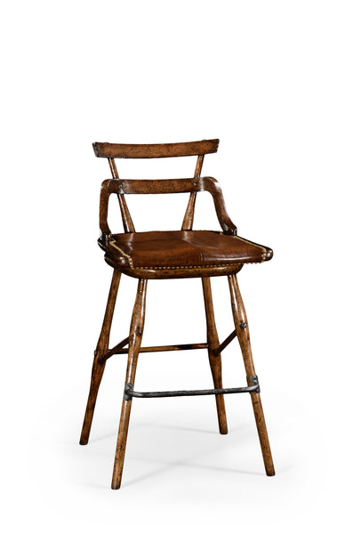 Oak Barstool With Studded Leather Seat