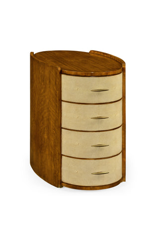 Ivory Shagreen Oval Bedside Chest Of Drawers