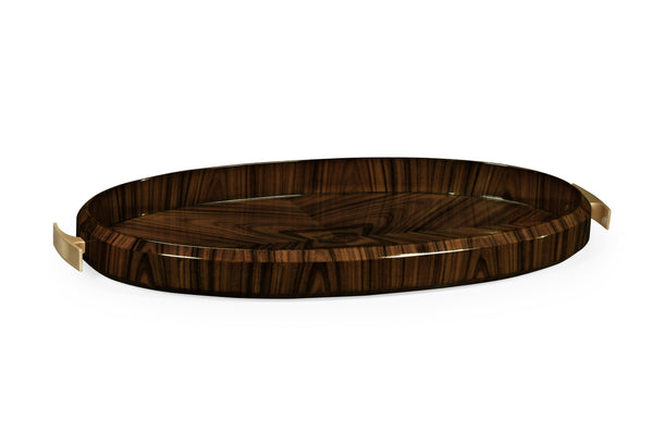 Oval Art Deco Macassar Ebony High Lustre Tray