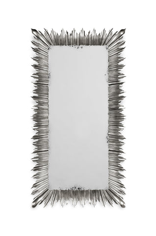 Silvered Floor Standing Rectangular Sunburst Mirror
