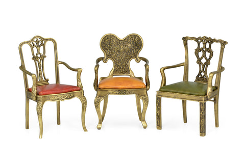 Set Of Light Brass Miniature Dining Chairs
