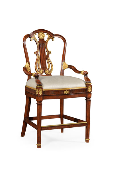 Neo-Classical Gilded Lyre Back Bar Armchair
