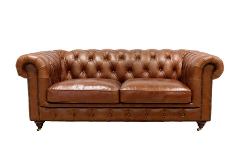 Genuine Leather Chester Bay Tufted Loveseat