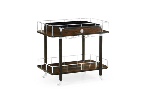 Dark Santos Rosewood Rolling Bar Cart With Drawer