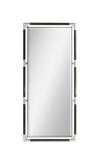 Campaign Style Charcoal Floor Standing Mirror