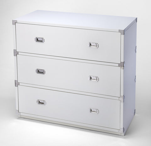 Anew White 3 Drawer Campaign Chest