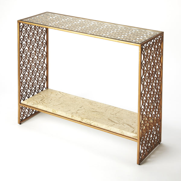 Cambria Fossil Stone & Metal Console Table