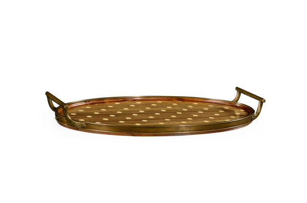 Oval Natural Acacia & Polka Dot Tray