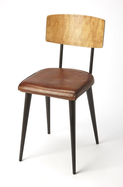 Clark Metal & Wood Leather Side Chair