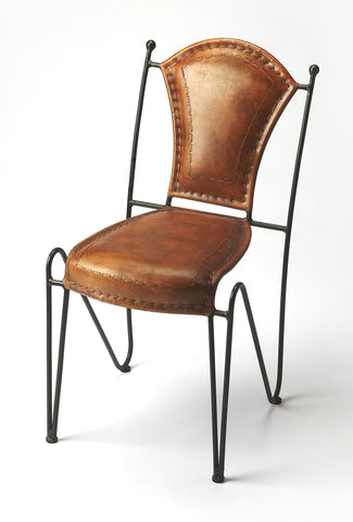 Coriander Iron & Leather Side Chair