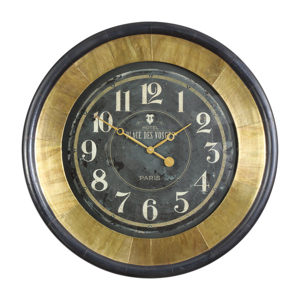Lannaster Black & Gold Wall Clock