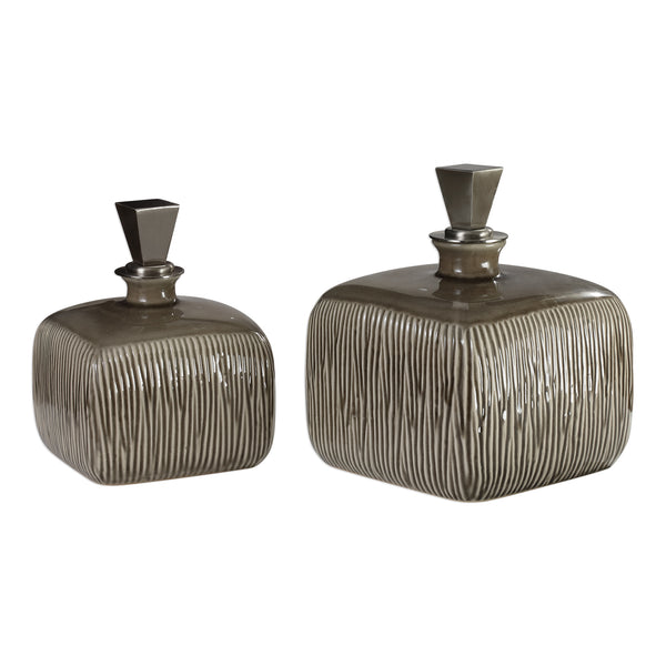 Cayson Ribbed Ceramic Bottles, S/2