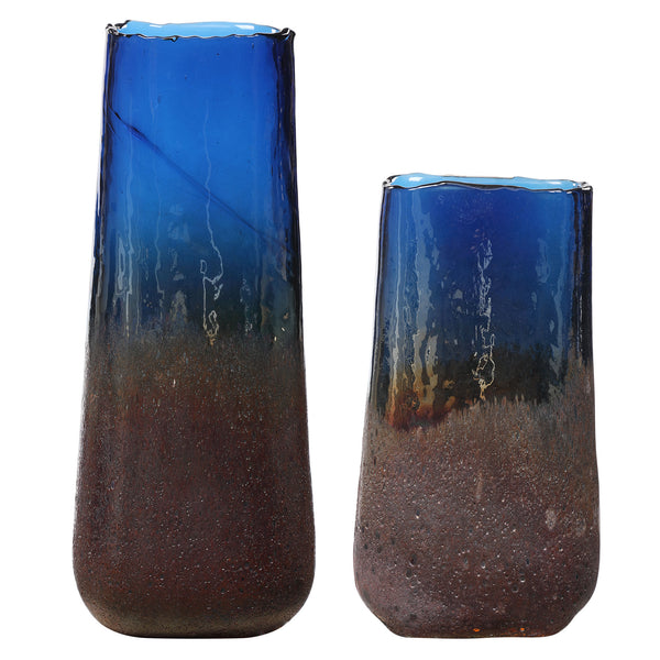 Capri Cobalt Blue Glass Vases, S/2