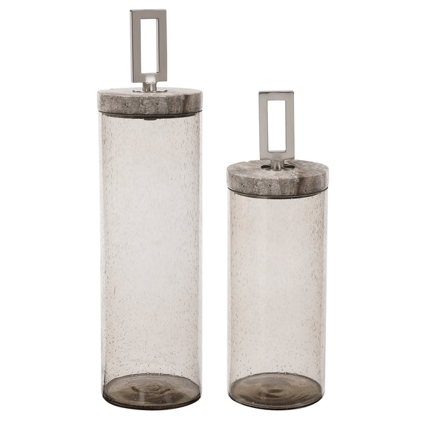 Carmen Seeded Glass Containers, S/2