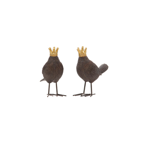 S/2 Resin Birds W/ Gold Crowns